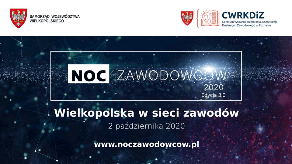 Plansza Noc Zawodowców 2020 Edycja 3.0 Wielkopolska w sieci zawodów